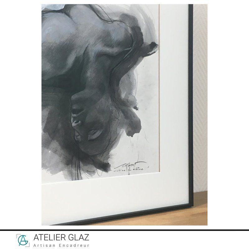 Passe-partout blanc surélevé Dessin Ernest Pignon Ernest | Atelier Glaz