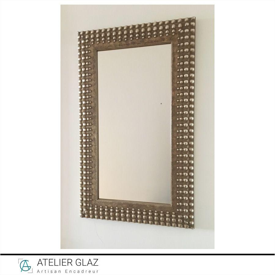 Miroir Cadre Argent Perles
